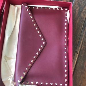 Valentino burgundy envelope clutch